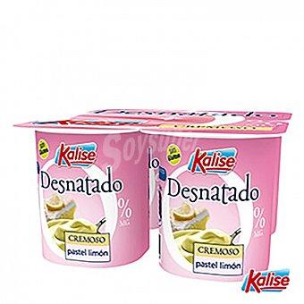 Kalise Yogur desnatado cremoso de limón sin gluten Pack de 4 unidades de 125 g
