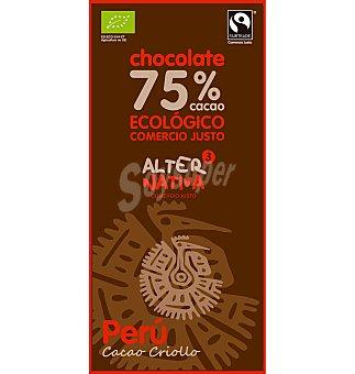Chocolate eco alternativa 75% cacao perú 80 g