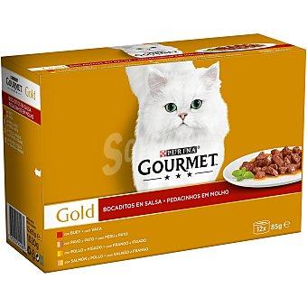 Gourmet Comida para gatos húmeda en salsa gourmet Pack 12 latas x 85 g