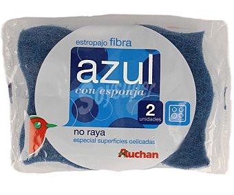 Auchan Estropajo Fibra Azul con Esponja No Raya 2 Unidades
