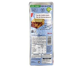 Auchan Pan de molde vienés sin gluten (controlado por la face) 330 gramos
