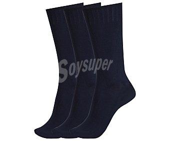 DON POSETS Pack de 3 pares de calcetines clásicos con tacto de seda y puño antipresión, color marino, talla única Pack de 3