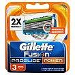 Recambio cargador afeitar 5 hojas power fusion proglide Paquete 3 u Gillette Fusion Proglide