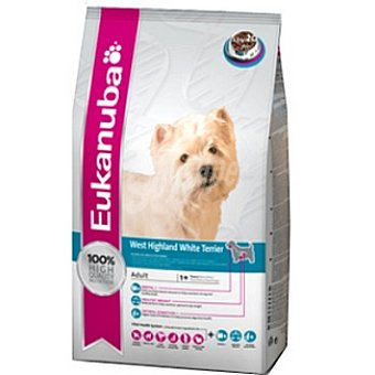 EUKANUBA WEST HIGHLAND TERRIER Alimento completo para perros adultos de raza west hightland white terrier y schnauzer Bolsa 7,5 kg