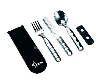 LAKEN Juego de 3 cubiertos (cuchara, tenedor y cuchillo) fabricados en acero inoxidable 18/8, con funda de transporte de neopreno 1 unidad