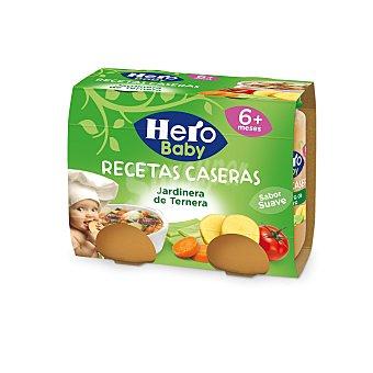 Hero Baby Tarritos de jardinera de ternera desde 6 meses Pack 2 tarros x 190 g