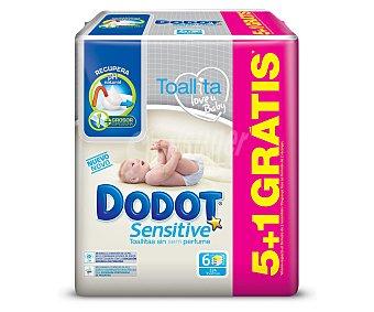 Dodot Sensitive Toallitas bebé 5+1 paquetes de 54 toallitas