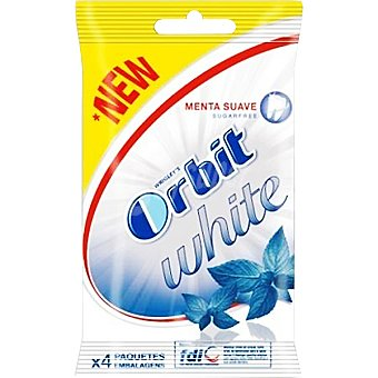 ORBIT White Chicles de menta suave sin azúcar Pack 4 envases 14 g