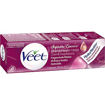 Veet Crema depilatoria Suprem Essence con aceites esenciales y pétalos de rosa piel normal/seca Tubo 90 ml
