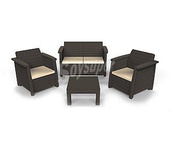 Keter Conjunto de 4 piezas modelo Vegas, compuesto por 1 mesa de cafe (59x59x33), 2 sillones individuales (73.8x68x79) con sus respectivos cojines y 1 sofá (128x68x79), todos ellos con elegante diseño de rattan y apoyabrazos en textura plana 1 unidad