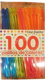 DON PALILLO Palillos plástico colores PAQUETE 100 unidades