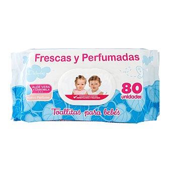 Deliplus Toallitas húmedas bebe frescas y perfumadas con aloe vera y camomila (nuevo perfume) Paquete de 80 unidades