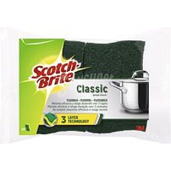 Scotch Brite Estropajo fibra verde classic 3 capas Pack 1 unid