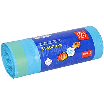 DIA Bolsa de basura con autocierre azul rollo 30 uds 30 litros