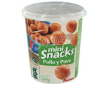 Auchan Snacks de mini salchichas cocidas de pollo y pavo sabor ahumado 200 g