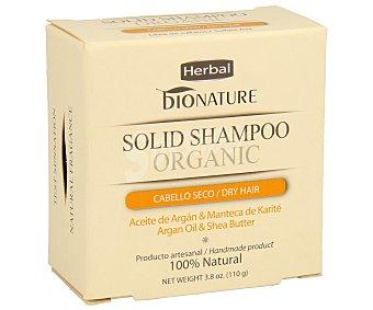 Bionature Champú en pastilla para cabello seco con aceite de argán y manteca de karité 100 gr