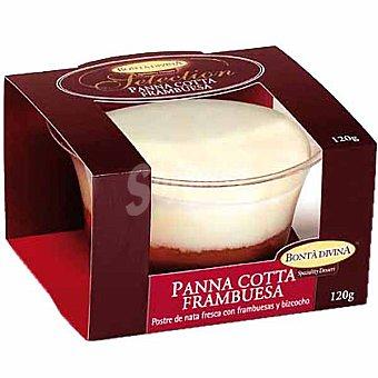 Bonta divina Panna cotta con frambuesa y bizcocho Envase 120 g