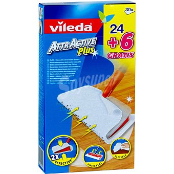 Vileda Attractive Plus recambio de mopa Paquete 24 unidades