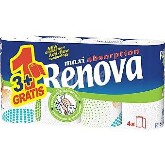 RENOVA rollos de cocina maxi paquete 3 rollos + 1 gratis