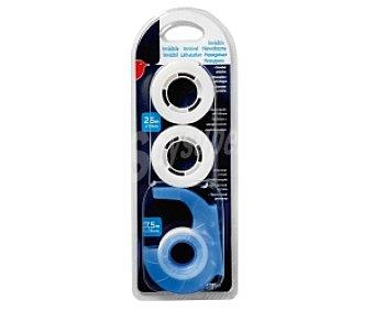 Auchan Rollos de cinta adhesiva invisible de 25 metros x 19 milímetros + dispensador con rollo incorporado de 7.5 metros x 19 milímetros 3 unidades