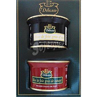 Delicass Bloc de foie de oca lata 130 g + bloc de foie de pato lata 130 g envase 260 g Lata 130 g