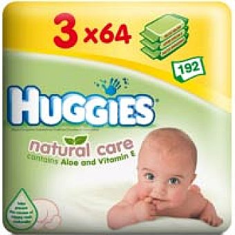 Huggies Natural Care Toallitas aloe Pack 3x64 unid