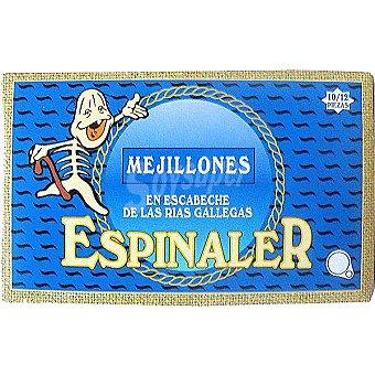Conservas Espinaler Mejillones en escabeche de las rías gallegas 10-12 piezas lata 69 g neto escurrido Lata 69 g neto escurrido