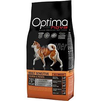 Optima Nova Pienso para perros adultos pequeños, medianos y grandes Grain Free Sensitive salmón y patata 2 Kg