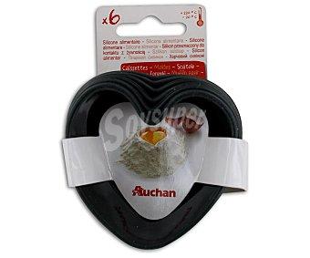 Auchan Set de 6 moldes de silicona con forma de corazón 1 Unidad