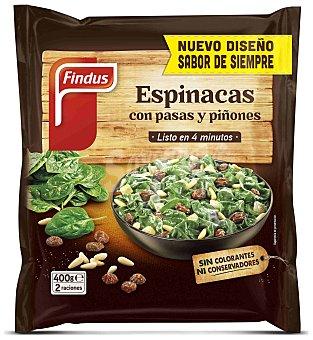 Findus Espinacas con pasas y piñones 2 raciones Bolsa 400 g