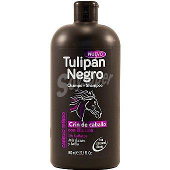 Tulipan Negro Champú Cabello Teñido Crin de caballo con biotina sin sulfatos botella 800 ml uso diario Botella 800 ml
