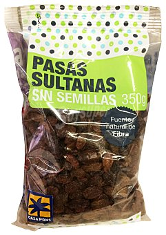 Casa Pons Pasas sultanas sin semillas (pequeñas) Paquete 350 g