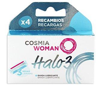 COSMIA Woman Recambio de cuchillas, triple hoja 4 unidades
