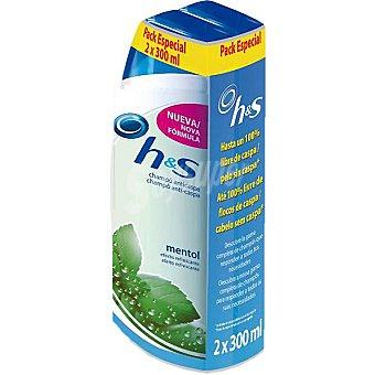 h&s Champú anticaspa refrescante con mentol Pack 2 frasco 300 ml