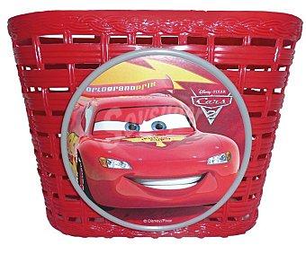 Disney Cestita de transporte de plástico para bicicletas, color rojo con con diseño de Cars, 20x14x13 centímetros 1 unidad