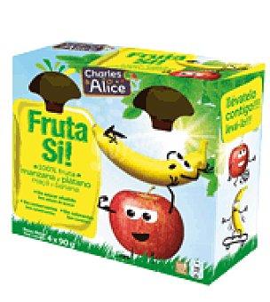 Charles & Alice Fruta Si manzana y plátano pack de 4x90 g