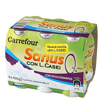 Carrefour Yogur líquido Sanus sabor naranja 0% + l.casei Pack 6x100 g