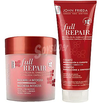 JOHN FRIEDA Full Repair Mascarilla intensiva repara reconstituye y revitaliza el cabello tarro 150 ml + champú reparación & cuerpo revitaliza el cabello dañado frasco 250 ml Tarro 150 ml