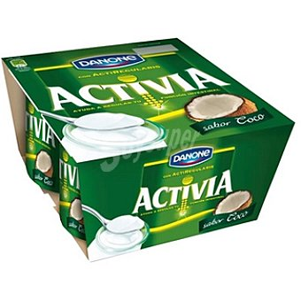 Activia Danone Yogur con sabor a coco Pack 4 unidades 125 g