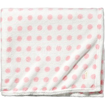 DOMBI Plaid Coralina blanco con lunares en color rosa