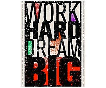 """IMAGINE Cuadro con el lema en ingles """"trabaja duro para realizar grandes sueños"""" y dimensiones de 60x80 centímetros 1 unidad"""
