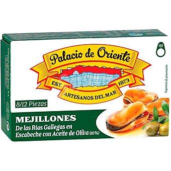 Palacio de Oriente Mejillones en escabeche fritos con aceite de oliva de las rías gallegas 8-12 piezas Lata 68 g neto escurrido