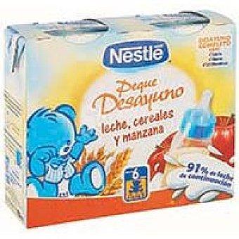 Nestlé Desayuno de leche-cereal-manzana Pack 2x250 ml