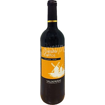 CASTILLO DELFOS Vino tinto crianza D.O. Valdepeñas elaborado para grupo El Corte Inglés Botella 75 cl
