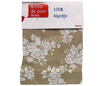 Auchan Bolsa de pan estampado floral color beige, 38x55 centímetros 1 Unidad