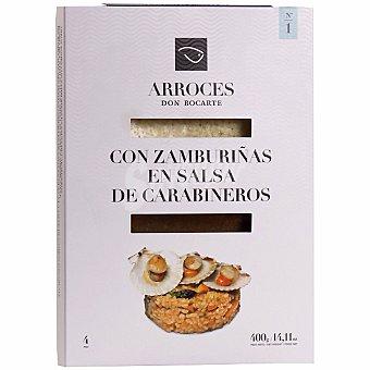 Don bocarte Preparado para elaborar arroz con zamburriñas en salsa de carabineros estuche 400 g estuche 400 g