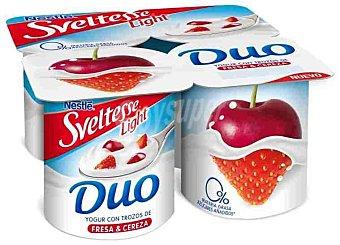 Sveltesse Nestlé Yogur con trozos de fresa y cereza light Pack de 4x125 g