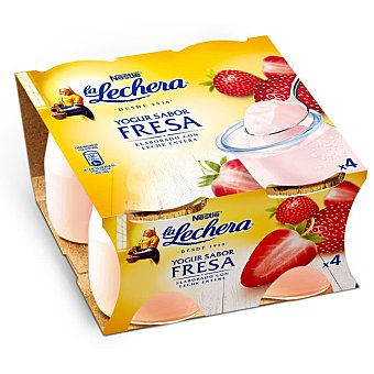 La Lechera Nestlé Yogur de fresa Pack 4 unidades x 125 g