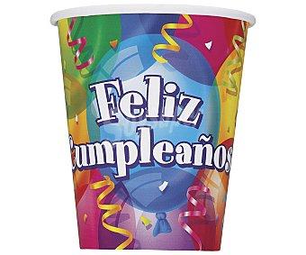 """PARTYGRAM Vaso desechable decorado """"feliz cumpleaños"""", 0,25 litros de capacidad 8 unidades"""