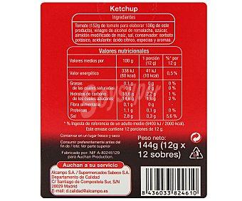 Auchan Ketchup en monodosis 12 unidades de 12 gramos